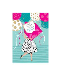 Friend Birthday - 'Gorgeous friend' letter & balloons