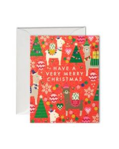 Christmas Pack - Llamas on Red (pack of 5 mini cards)