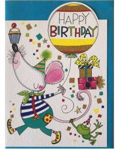 Birthday - Mouse, balloon & frog