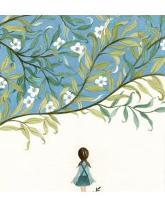 Greeting card - Girl with plaits, white flowers