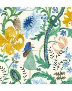 Greeting card - Girl, foliage & owl