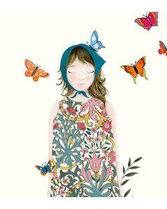 Greeting card - Girl in teal scarf, butterflies