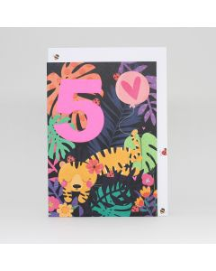 Age 5 - Tiger in jungle with flowers