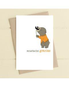 THANK YOU card - Moustache Gracias