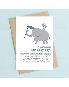 BABY BOY card- Elephant with blue flag