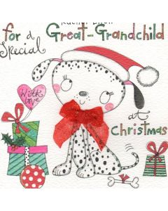 Christmas Card - GREAT-GRANDCHILD (Dog & Presents)