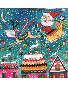 Jigsaw Christmas card -Santa over roof tops