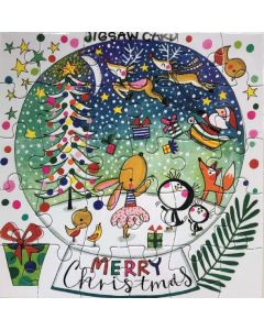 Jigsaw Christmas card - Bright snowglobe