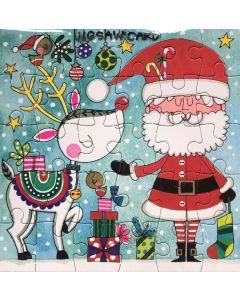 Jigsaw Christmas card - Santa, Rudolph & robins