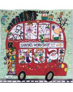 Jigsaw Christmas card - Santa's Workshop bus