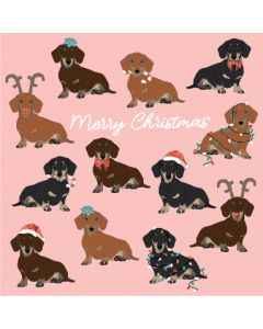 Christmas Dachshunds - Box of 10 Christmas Cards