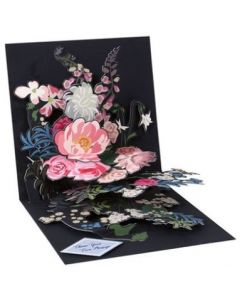 Colourful flowers on black - 3D pop-up card