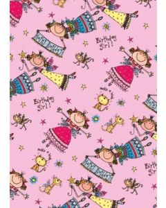 Fairies on pink  folded wrapping paper