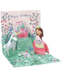 3D Pop-Up Card - Princess, Unicorn & Castle