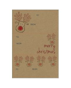 Christmas gift labels - Friendly Reindeer (15 labels)