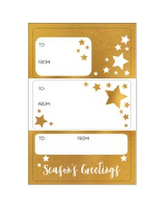 Season's gift labels - Gold Star (15 labels)