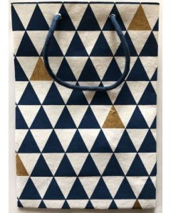 Gift bag - Navy & gold triangles