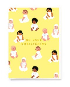 CHRISTENING Card - Babies in White