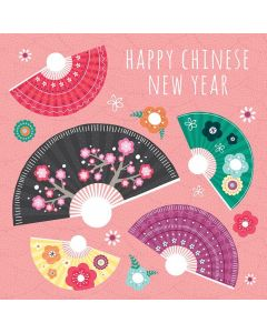 Chinese New Year Card - Colourful Fans
