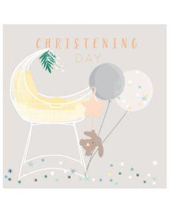 Christening - Baby Girl cot & balloons