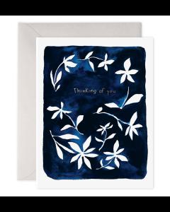 THINKING OF YOU Card - Indigo Flowers