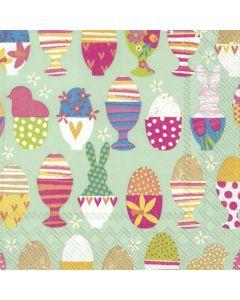 Paper Cocktail size napkin/serviette - Colourful eggs