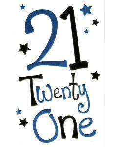 AGE 21 Card - Twenty One & Stars