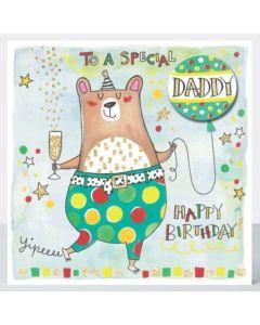 DADDY Birthday - Bear, champagne & balloon