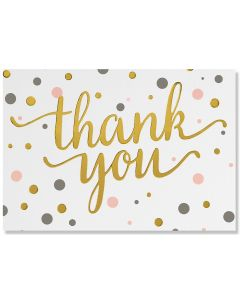 Pink & Gold Dots - thank you notecards