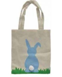 BLUE Bunny with Pom Pom Tail Canvas Bag