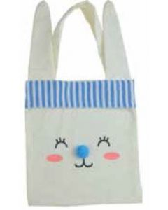 Bunny Face with BLUE Pom Pom Nose Canvas Bag