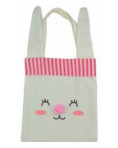 Bunny Face with PINK Pom Pom Nose Canvas Bag