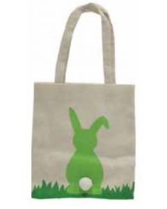 LIME GREEN Bunny with Pom Pom Tail Canvas Bag
