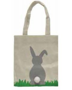 GREY Bunny with Pom Pom Tail Canvas Bag