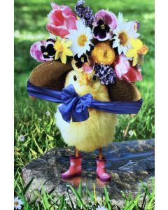 Easter chick in flower hat