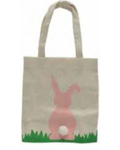 PINK Bunny with Pom Pom Tail Canvas Bag