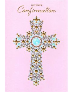 CONFIRMATION Card - Jewelled Cross