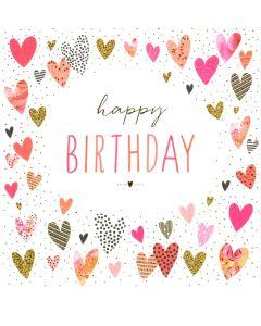 Birthday Card - Pretty Hearts