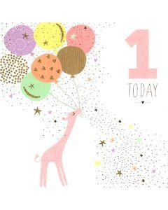 AGE 1 Card - Giraffe & Balloons