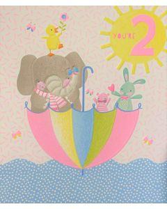 AGE 2 Card - Elephant in Umbrella