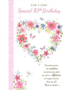 AGE 70 Card - Floral Heart