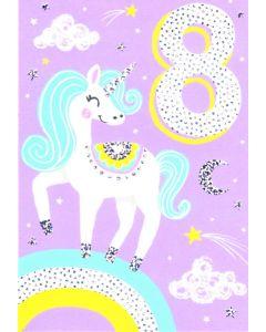 AGE 8 Card - Sparkly Unicorn