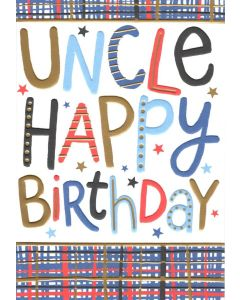 UNCLE Birthday Card - Words on Plaid
