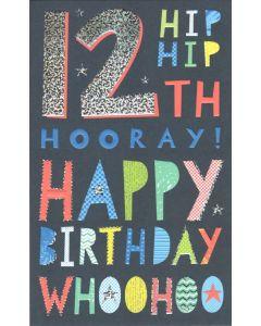 AGE 12 Card - Hip Hip Hooray!