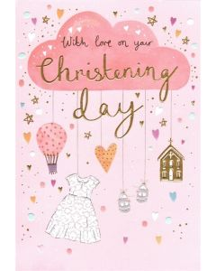 CHRISTENING Card - Pink Cloud Mobile