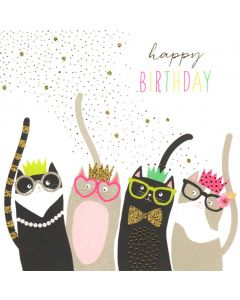 Birthday Card - Party Cats