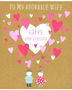 Anniversary (To WIFE)  Card - Pink Hearts