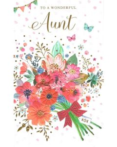 AUNT Card - Bunch of Flowers XOX