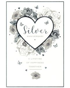 SILVER ANNIVERSARY Card - A Lifetime of Happiness
