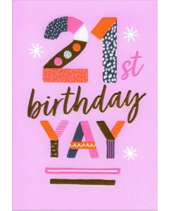 AGE 21 Card - YAY on Pink